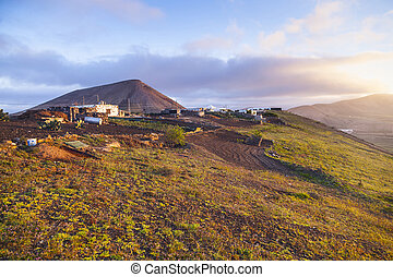 sunrise in Femes with view to the extinguished volcanoes