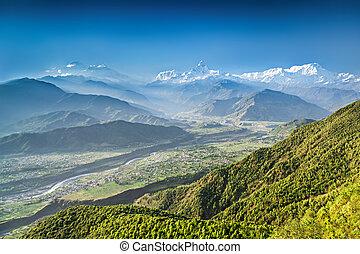 Sunrise in Himalaya mountains, view from Sarangkot, Nepal