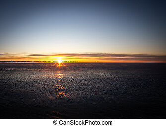 Sunrise in January on the Atlantic ocean