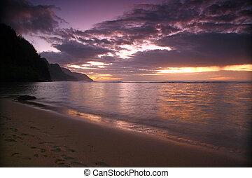Sunrise in Kauai Hawaii With Bold Colors