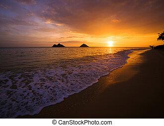 sunrise in lanikai, hawaii