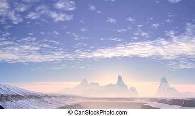 Sunrise in misty mountains