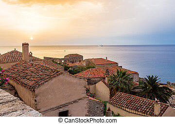 sunrise in Monemvasia, Greece - early morning in medieval ...