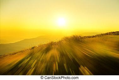 sunrise in mountain.
