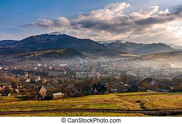 sunrise in mountain rural area in springtime - rural area in...