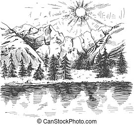 Sunrise in mountains forest and lake