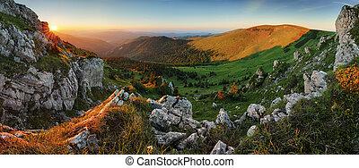 Sunrise in mountains landscape, Slovakia.