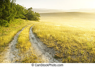 sunrise in mountains - Lane in meadow and sunrise. Nature ...