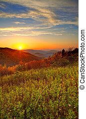 sunrise in mountains - sunrise in the great smoky mountains...