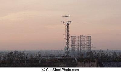 sunrise in Rome - sunrise over the Garbatella area in Rome,...