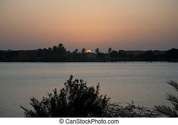 Sunrise in Saint Louis in Senegal with view on the river