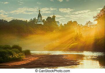 Sunrise in small Russian village
