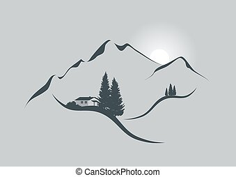 Sunrise in the alps - illustration of an alpine mountain ...