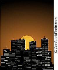 Sunrise in the big megacity. A vector illustration