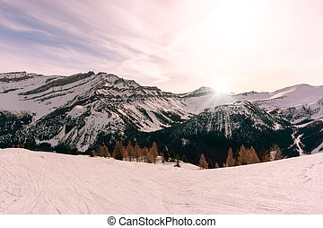 Sunrise in the Canadian Rockies at Lake Louise Near Banff National Park