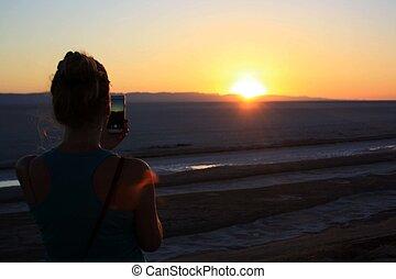 Sunrise in the desert, dawn, morning sky