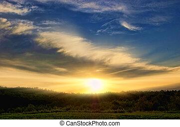 sunrise in the morning sky