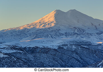 sunrise in the mountains Elbrus, Northern Caucasus, Russia