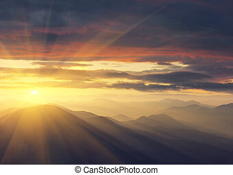 Sunrise in the mountains. Ukraine, the Carpathians