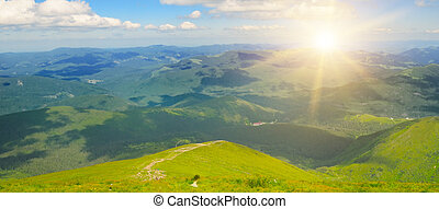 Sunrise in the mountains. View from the top of the mountain Hoverla, Carpathian Ukraine.