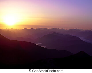 Sunrise in the northern alps