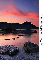 Sunrise in the ocean bay
