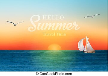 Sunrise in the sea with a sailboat and seagulls. Summer holidays vector background