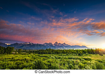 Sunrise in the Wyoming Tetons - Colorful sunrise at...