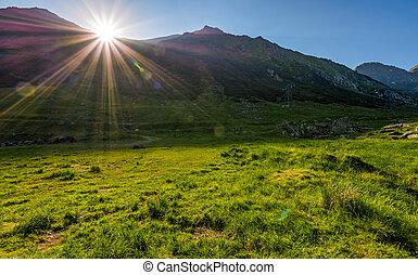 sunrise in valley of transfagarasan mountains