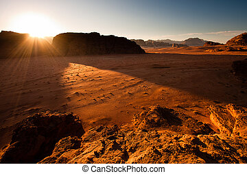Sunrise in Wadi Rum - The sun is rising above the Wadi Rum ...