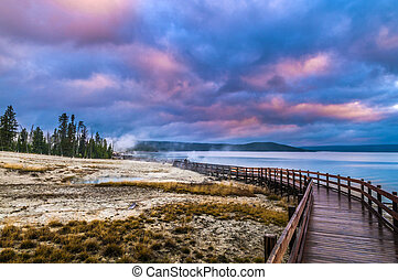 Beautiful Morning in West Thumb Geyser Basin with Yellowstone Lake in the bacground