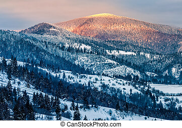 sunrise in winter carpathians - carpathian mountain rural...
