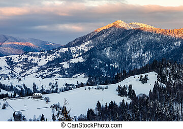sunrise in winter carpathians - carpathian mountain rural...
