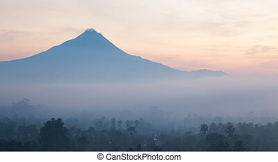 Sunrise Landscape Mountain Merapi Indonesia