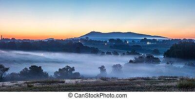 sunrise landscape over morganton town in north carolina