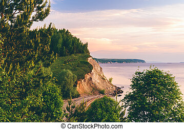 Sunrise light on cliff with pine wood