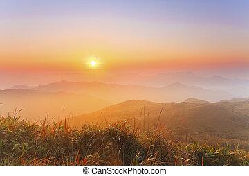 Sunrise mountain at dawn