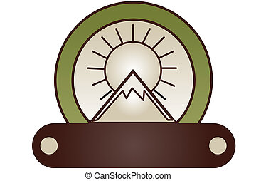 Sunrise Mountain - Graphic of mountain with sunrise or ...