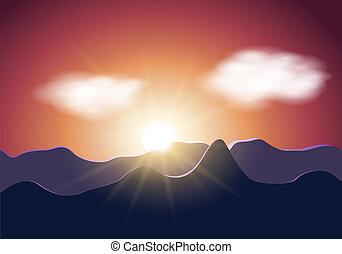 Sunrise mountains illustration