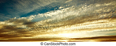 Sunrise nature background, beautiful clouds in morning sky