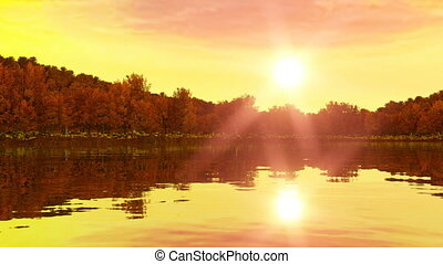 Sunrise near the lake and forest. Rewind for sunset. 3d render, 3d animation