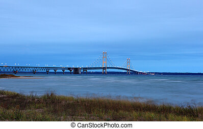 Sunrise of the Mackinac Bridge Michigan's Upper and Lower Peninsulas, USA, Fall landscape