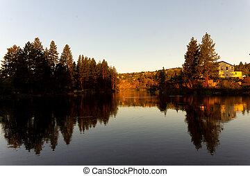 Sunrise on a beautiful sunny morning on a lake