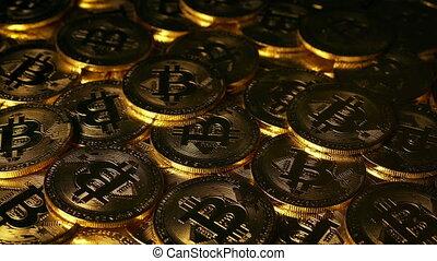 Sunrise On Bitcoin - Crypto Money Concept - Pile of bitcoins...