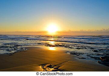 Sunrise on brazil beach. - Beautiful sunrise on Torres...