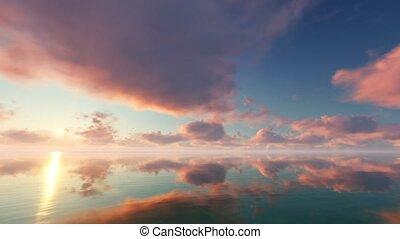 Sunrise on calm blue sea 4k