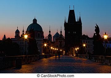 Sunrise on Charles bridge in Prague, the Czech Republic