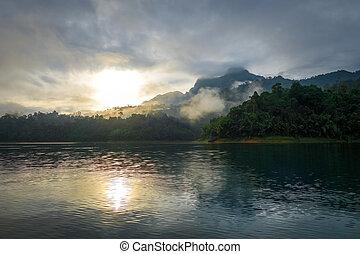 Sunrise on Cheow Lan Lake, Khao Sok National Park, Thailand