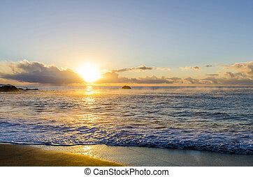 sunrise on cornish beach