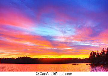 Beautiful sunrise on big lake in finland